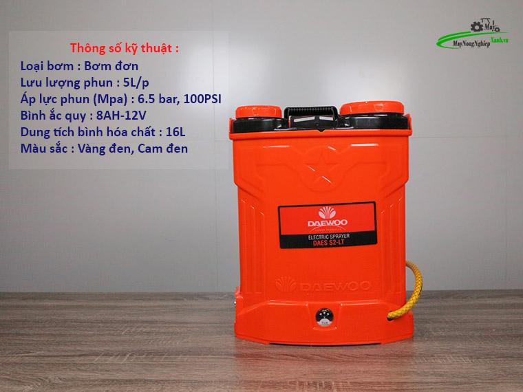 Binh xit dien daewoo 16 lit pin Lithium DAES s2b LT cam 1 - Bình xịt điện Daewoo 16 lít DAES-S2A-LT Pin Lithium 8AH-12V Màu Cam