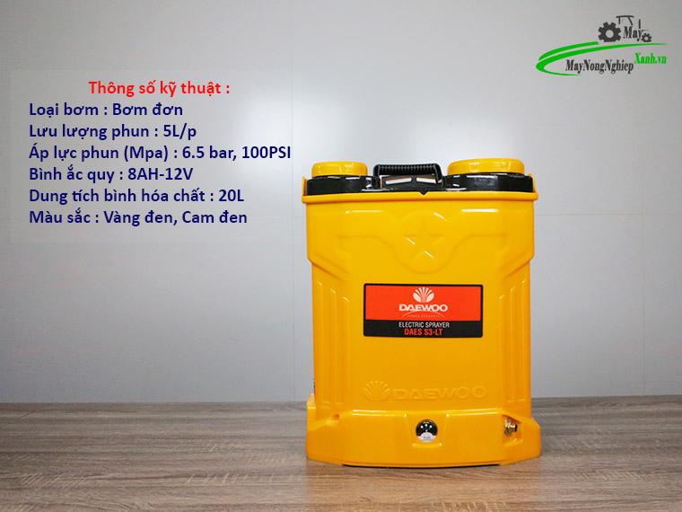 Binh xit dien daewoo 20 lit pin Lithium DAES s3b LT vang 1 - Bình xịt điện Daewoo 20 lít DAES-S3B-LT Pin Lithium 8AH-12V Màu Vàng