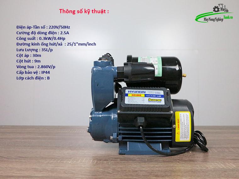 May bom nuoc tang ap Hyundai hd300A 300W tu dong 1 - Máy bơm nước tăng áp Hyundai HD300A 300W/ 0.4 HP - Tự Động