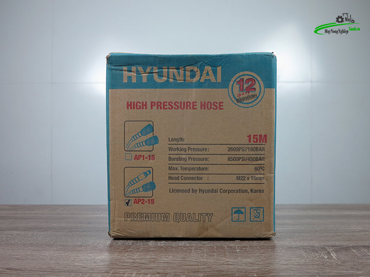 day phun ap luc hyundai ap2 15m 4 - Dây rửa xe cao áp 15m Hyundai AP2-15 hàng theo máy